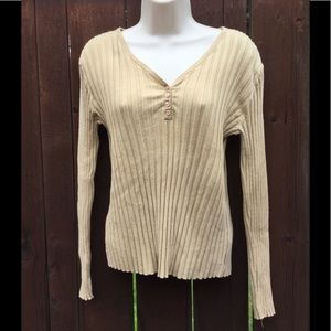 Talbots, Ribbed, Tan, 4 Button Henley. Size Small
